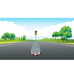 Scene with empty road and traffic light vector