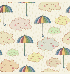 seamless pattern with cute sleeping clouds vector image