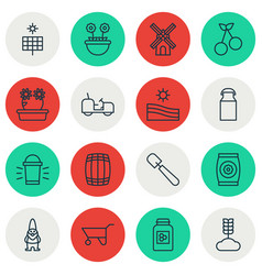 Set of 16 gardening icons includes sweet berry vector