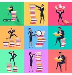 Set of Book Reading Concept In Flat Design vector image vector image