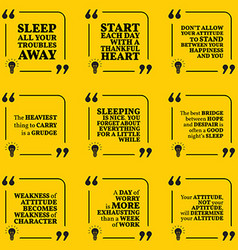 Set of motivational quotes about sleeping heart vector
