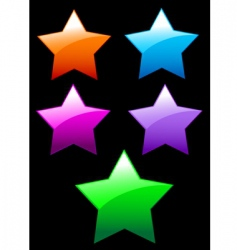 simple shiny stars buttons vector image