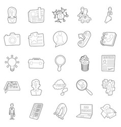 Sphere of activity icons set outline style vector