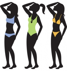 swimsuit silhouettes vector image