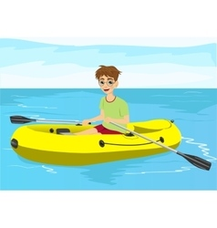 teenager boy with glasses in yellow rubber boat vector image vector image