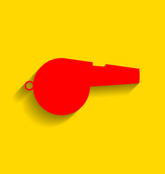 whistle sign red icon with soft shadow on vector image vector image