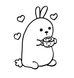 High quality cute bunny with coffee and sweets vector image