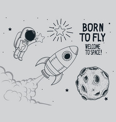 Born to fly vintage vector