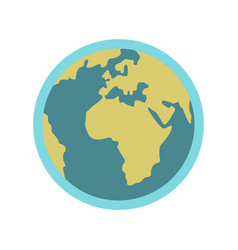 Blue planet earth icon flat style vector