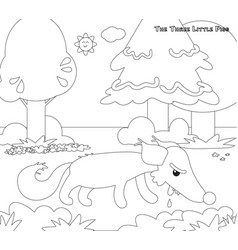 Coloring three little pigs 11 the hungry wolf vector