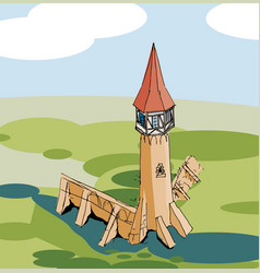 Old tower colored background-01 vector