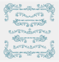 Set of vintage swirls and borders vector