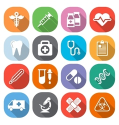 Trendy flat medical icons with shadow vector
