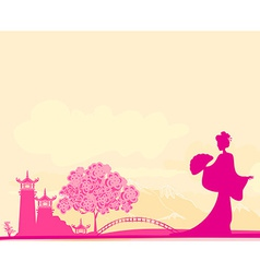 Old paper with geisha and asian landscape vector