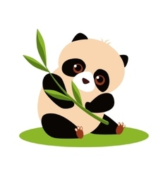 Cute panda eating bamboo vector