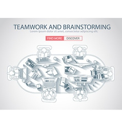 Teamwork concept with doodle design style vector