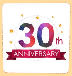 Colorful polygonal anniversary logo 2 030 vector