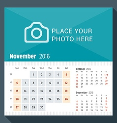 November 2016 desk calendar for 2016 year week vector