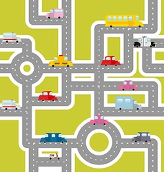 Road and transport seamless pattern Cartoon map of vector image