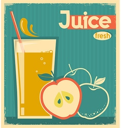 Red apple juice on old paper vintage card vector