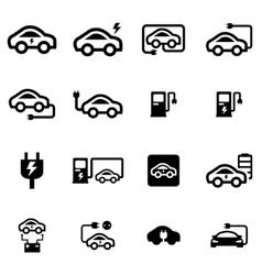 Black electric car icon set vector
