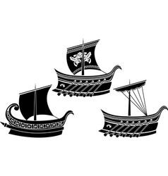 greek ships 1 vector image