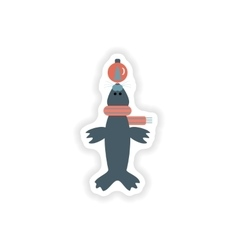 Stylish paper sticker on white background fur seal vector