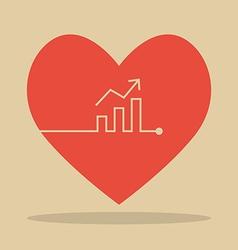 Bar chart heartbeat vector