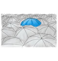 Blue umbrella in the grey umbrellas - pattern vector