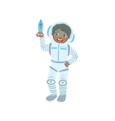Boy dressed as astronaut holding toy spaceship vector