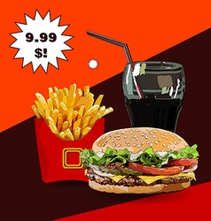 Burger fries and cola vector