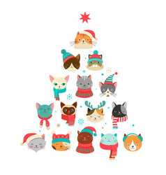 Cats christmas tree vector