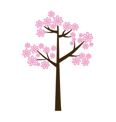 color silhouette with pink floral tree vector image