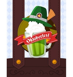 colorful of big mug of green beer with hat vector image