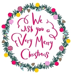 Colorful poster with decorative christmas wreath vector