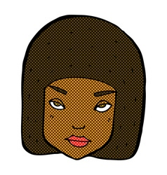 Comic cartoon annoyed female face vector