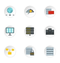 Computer protection icons set flat style vector