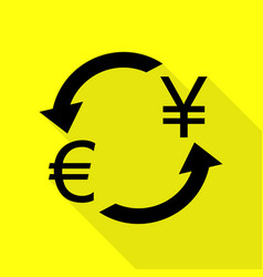 Currency exchange sign euro and japan yen black vector