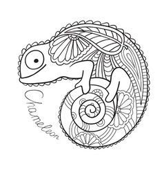 Cute chameleon in ethnic style vector