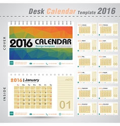 Desk Calendar 2016 Design Template with colorful vector image