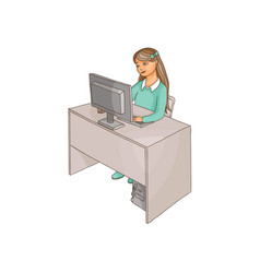 flat girl using pc sitting at desktop vector image