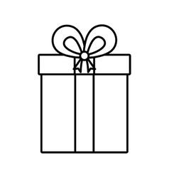 gift box ribbon cube decorative linear vector image vector image