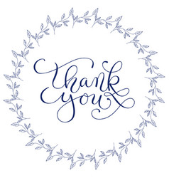 hand lettering words thank you with hand drawn vector image