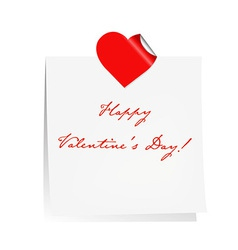 Happy Valentines Day Blank Note Paper vector image
