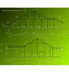 House facade on green background blueprint vector image