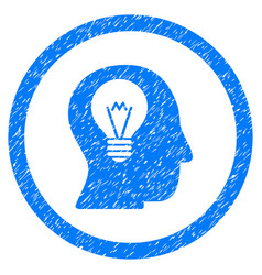intellect bulb rounded grainy icon vector image