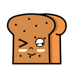 Kawaii cute funny slice bread food vector