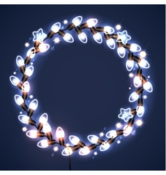 Light garlands on dark background christmas vector