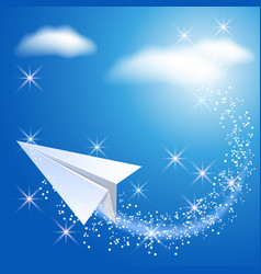 Paper airplane in the sky vector