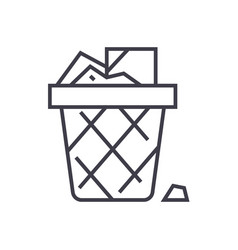 paper binoffice garbage line icon sign vector image vector image